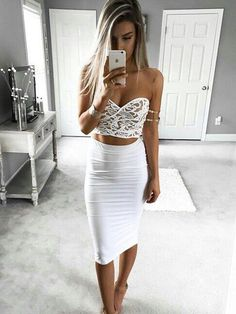 50 Trending And Young Summer Outfits From Fashionista : Kelsey Floyd White Lace Crop + White Pencil Skirt Mode Outfits, Sexy Outfits, Summer Outfits, Summer Dresses, White Outfits, Casual Outfits, Prom Party Dresses, Homecoming Dresses, Dress Prom