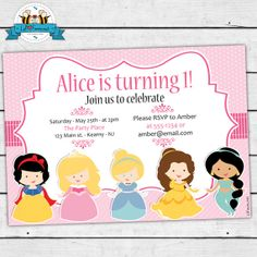 Cute Princess Birthday Party Invitation  by LilFacesPrintables, $9.95