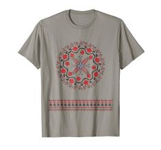 Romanian traditional folk floral motifs from Romania Tshirt Floral Motif, Branded T Shirts, Romania, Fashion Brands, Folk, Traditional, Amazon, Mens Tops, Stuff To Buy