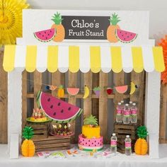 our Tutti Frutti Tabletop Prop to add a touch of sweetness to the party table. This fun and colorful tabe decoration features the look of a fruit stand and will include your own wording at the top. 1st Birthday Party For Girls, Fruit Birthday, Watermelon Birthday, Birthday Party Decorations, Birthday Ideas, Tutti Fruity Party, Fruit Party, Fruit Fruit, Tutti Frutti