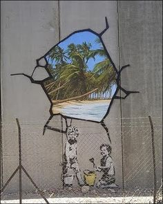 """Banksy, West Bank Barrier. I have a """"street art"""" unit planned for 8th grade, focusing on Banksy as the artist connection... this is my favorite of his images."""