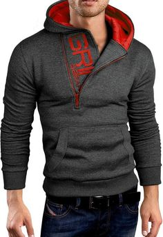 Grin&Bear embroidered Sweatshirt charcoal red