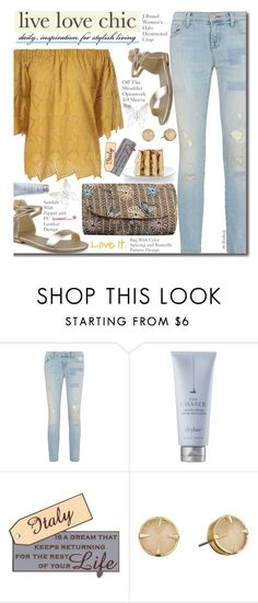 """""""Summer Style - Ripped Jeans"""" by beebeely-look ❤ liked on Polyvore featuring J Brand, Drybar, Vince Camuto, rippedjeans, summerstyle, sammydress, goldsandals and offtheshoulder"""