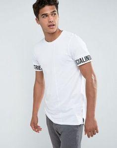 Jack & Jones Core Longline T-Shirt With Sleeve Print