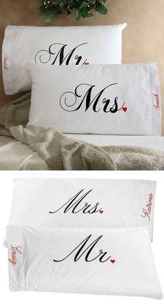 Mr. & Mrs. Pillowcases ♥ #christmas #gift #idea #wedding