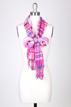Pink Polyester Gathered Plaid Long Scarf