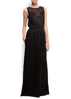 Mango Women's Sheer Insert Long Dress: Amazon.com: Clothing
