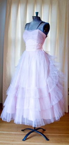 1950's Prom Dress // Pink Pleated Tulle Strapless by GarbOhVintage, $145.00