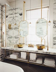 marbled walls + gold hardware.