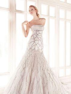 Puff sleeve tiny split mermaid wedding gowns.  Bling wedding gown