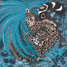 Carré 90 x 90 cm Hermès   Jaguar Quetzal Carré Hermes, Carre Soie, Echarpe 66466fb806b
