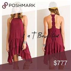 🎉 TODAY ONLY 🎉 Boho halter dress Solid crinkle haltered dress featuring back crochet panel, tiered drop waist skirt and handkerchief hem. Lined. Fabric: 65% rayon 35% polyester. Color: wine. Available in size S(2-4), M(6-8), and L(10-12). TK1425222. 2 a T Boutique  Dresses
