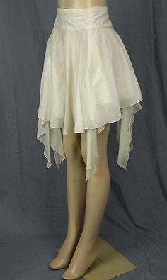 Emporio Armani Flounce Skirt Sz 38 4 Ivory Gauze Asymmetric Trailing Scarf Ends | eBay