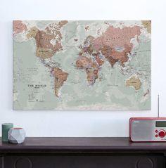 Vintage world map canvas print wall decor world map canvas print executive world map canvas print gumiabroncs Choice Image