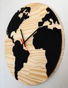 "Wooden Wall Clock ""World Map""  Relógio mapa mundi em madeira para parede"