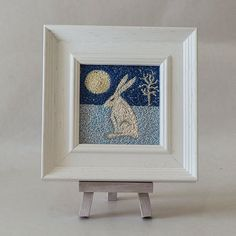 Hare and Moon Framed Embroidered Artwork | giftwrappedandgorgeous.co.uk