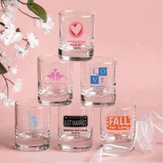 Personalized Round Shot Glass & Votive Candle Holder Favors (214 Designs - 13 Colors) - $1.05