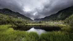 New Zealand Mountains Lake Sky Fiordland