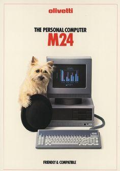 Pubblicità del personal computer M24, il primo computer Olivetti compatibile con il sistema operativo MS-DOS.   Questa pubblicità fa parte della campagna del 1984 per la linea di personal computer Olivetti (M10, M20, M24, M21).