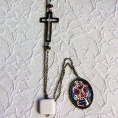 Illustrated Long Necklace - Hand-painted Mexican death's-head