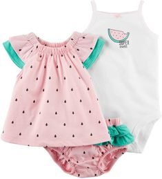 Baby Girl Clothes at Macy's come in a variety of styles and sizes. Shop Baby Girl Clothing at Macy's and find newborn girl clothes, toddler girl clothes, baby dresses and more. Baby Outfits, Outfits Niños, Girls Summer Outfits, Kids Outfits, Summer Clothes, Watermelon Outfit, Watermelon Baby, Carters Baby Girl Clothes, Carters Baby Boys