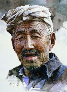 Elder Man of Shanbei: Oil painting by Guangzhou artist Ye Xianmin.