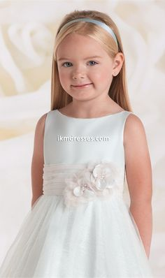 Tempting A-Line Bateau Neck Satin Top Lace Tulle Skirt Flower Girl Dresses with Flowers Sash - IkmDresses.com