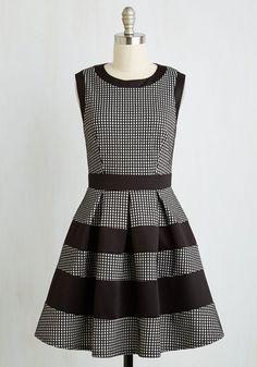 Tenth Floor Fab Dress - White, Black, Checkered / Gingham, Print, Work, A-line, Sleeveless, Winter, Knit, Good
