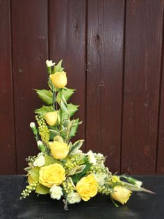 A traditional Lshaped arrangement. Funeral Floral Arrangements, Tropical Flower Arrangements, Church Flower Arrangements, Rose Arrangements, Church Flowers, Beautiful Flower Arrangements, Funeral Flowers, Exotic Flowers, Beautiful Flowers