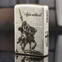 Japanese Zippo Antique Silver The Crusades Lighter Limited Edition