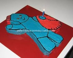 Homemade Iggle Piggle Cake: I made this Iggle Piggle cake for my son's 1st birthday. I photocopied and enlarged a picture of Iggle Piggle. Then I cut it out and placed it on a slab