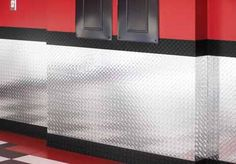 Like the idea of metal wainscoting. Also like the color scheme of red, black and metal/white
