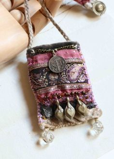 "Items similar to textile pendant ""in the ruins of the old abbaye"" on Etsy textile pendant in the ruins of the old by frenchmanufacture Fiber Art Jewelry, Mixed Media Jewelry, Textile Jewelry, Fabric Jewelry, Boho Jewelry, Jewelry Crafts, Jewelry Art, Jewelery, Handmade Jewelry"