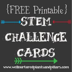 Well Nurtured Plants and Pillars has a post on STEM that includes FREE STEM printable cards and activities. There are numerous activities included and instr