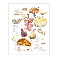 French onion tart recipe print. Watercolor illustration