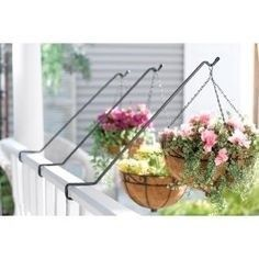 Deck rail hanging baskets with rods.the set Deck rail hanging baskets with rods.the set Balcony Hanging Planter, Deck Railing Planters, Metal Planters, Deck Railings, Planter Pots, Hanging Pots, Metal Deck, Hanging Flower Baskets, Garden Inspiration