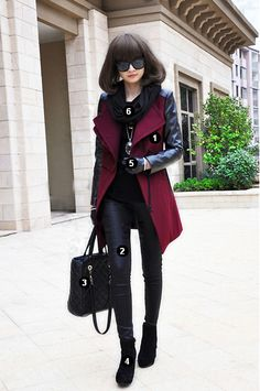 Lapel Split Joint Slim Woolen Coat + Fashion Genuine Leather Winter Warm Gloves + Plain All-match Ankle Boots High Heels + Black Leather Cony Hair Rhombus Shoulder Bag Handbag+All-match PU Leather Slim Leggings + Sweet Tassels Wool Knitted Winter Warm Scarf!!