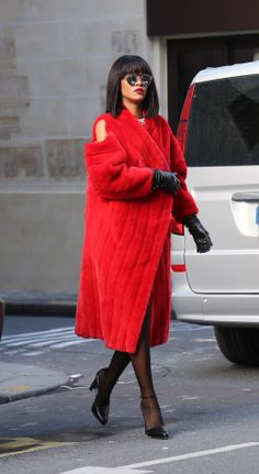 Rihanna rocking a killer red coat // #Style