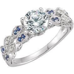 14K White Gold Forever Brilliant Moissanite, Blue Sapphire & Diamond Engagement Ring