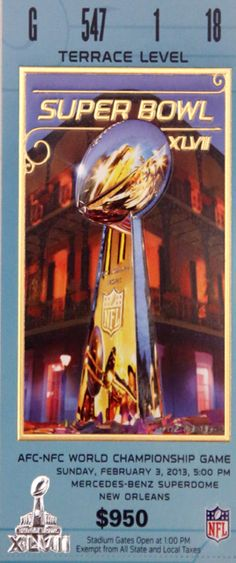 Take a historical glance at Super Bowl ticket design dating back to first Super Bowl in 1967. http://hosted.ap.org/interactives/2013/superbowl/#