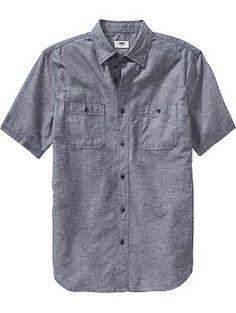Mens Slim-Fit Short-Sleeved Chambray Shirts. for J, with khakis, family pics shirt