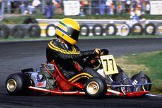 Ayrton in his kart with the legendary yellow helmet.  http://www.velocitykartshop.com.au/