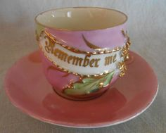"Hand Painted Pink and Gold ChinaTea Cup and Saucer with "" Remember Me "" Sentiment - Friendship Memento by CheekyBirdy on Etsy"