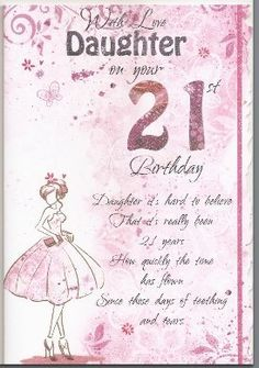 With Love Daughter On Your 21st Birthday Card ED965