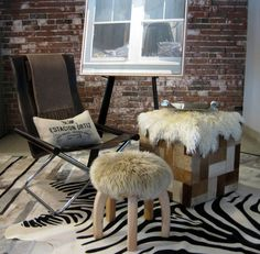 Hides and hide rugs, furniture, pillows and throws, all on sale, limited time and stock, promo code Summer Sale