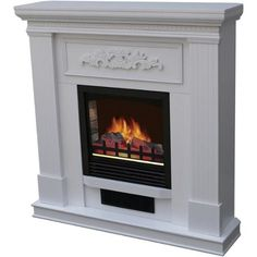 "Electric Fireplace with 38"" Mantle, White - Walmart.com"