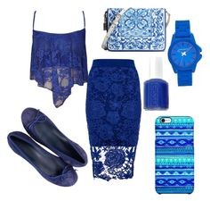 """Blue lace"" by gurveenpanesar ❤ liked on Polyvore featuring Dorothy Perkins, WearAll, Dolce&Gabbana, Essie, Vince Camuto and Uncommon"