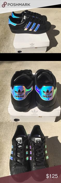Holographic adidas Women size 7 ▪️Adidas Womens Superstar Size 7 ▫️Custom Made Black leather  Holographic style ▫️Brand New ▪️Comes with original box  extra laces ▫️Price is Firm Adidas Shoes Sneakers https://twitter.com/ShoesEgminfmn/status/895096209521557504