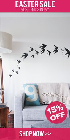 www.vinylimpression.co.uk Swallow bird vinyl wall stickers for home interior design and decoration. Currently on #SALE