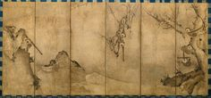 Gibbons, Muromachi period (1392–1573). Sesson Shukei (Japanese, 1504–1589?). Japan. Pair of six-panel screens; ink on paper.